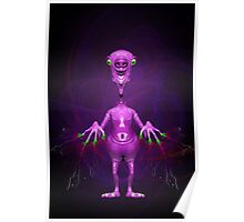 Fun Pink Alien Telepathic Power Poster