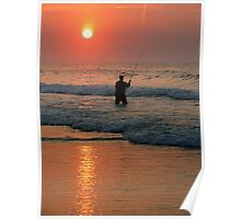 #411   Surf Fishing At Sunrise Poster