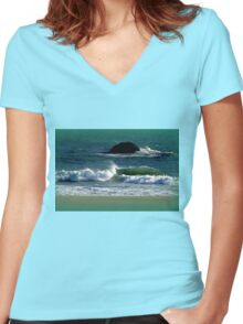 Into the green sea Women's Fitted V-Neck T-Shirt