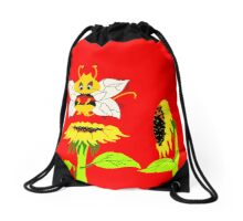 Buzzer the Bee Red Flower Yellow Drawstring Bag