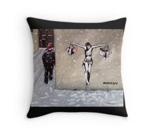 Happy Christmas from Banksy Throw Pillow