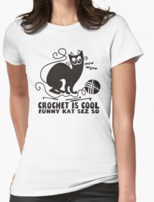 Black white crochet is cool funny derpy cat says so T-Shirt
