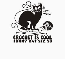 Black white crochet is cool funny derpy cat says so Womens T-Shirt