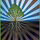 bird tree roots sky bluegreen design by Eric Maki