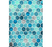 Blue Ink - Watercolor hexagon pattern Photographic Print