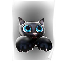 Cute Kitty Cartoon with Blue Eyes - 3D Poster