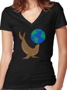Earth Day Sea Lion Women's Fitted V-Neck T-Shirt