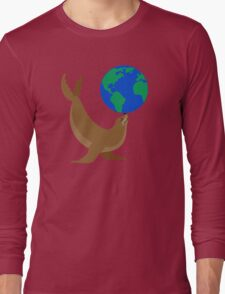 Earth Day Sea Lion Long Sleeve T-Shirt