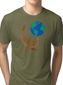 Earth Day Sea Lion Tri-blend T-Shirt