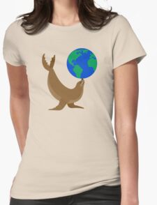 Earth Day Sea Lion Womens Fitted T-Shirt