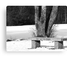 BW bench Canvas Print