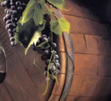 Still life: Barrel, grapes and wine Sticker