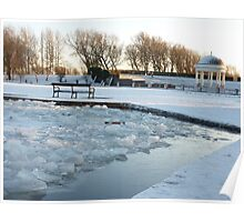 Frozen boating  lake . Poster
