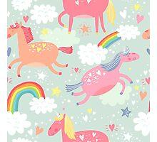 Unicorns & Rainbow Photographic Print