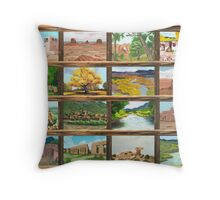 New Mexico ~ Southwest ~ Oil Painting Collage Throw Pillow