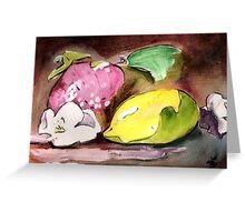 Fruit~ Lemon, strawberry, flower Greeting Card