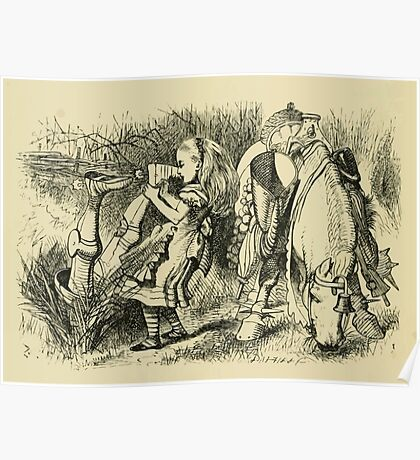 Through the Looking Glass Lewis Carroll art John Tenniel 1872 0192 Knight Dragged Out by Feet Poster