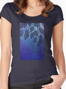 Midnight Blue Garden - watercolor & ink leaves Women's Fitted Scoop T-Shirt