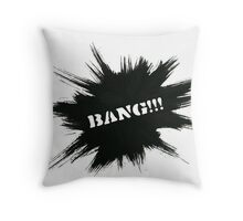 Black Painted Explosion with Bang Word Throw Pillow