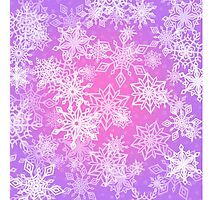 Chaotic Snowflakes on Lilac Background Photographic Print