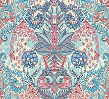 Botanical Geometry - nature pattern in red, blue & cream by micklyn