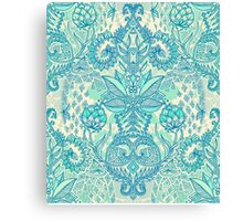 Botanical Geometry - nature pattern in blue, mint green & cream Canvas Print