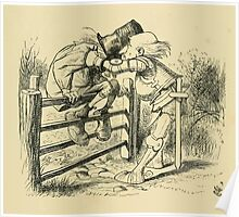Through the Looking Glass Lewis Carroll art John Tenniel 1872 0199 On the Fence Poster