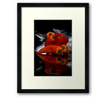 Smokin Peppers Framed Print