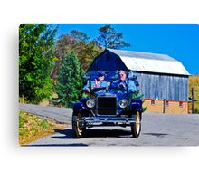Blue Ford with Yellow Wheels Canvas Print