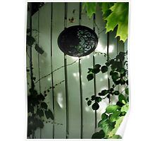 Old Garden Gate with Oval Iron Work and Leaves Poster