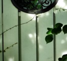 Old Garden Gate with Oval Iron Work and Leaves Sticker