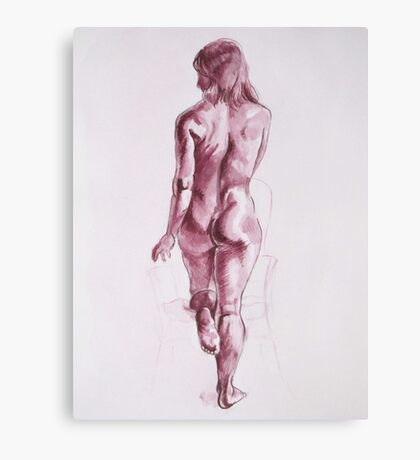 Nude Woman-India Ink-Burgundy Canvas Print