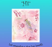 """Greeting Card Green Lacewing on Prunus Blossom """"Just to say a friendly Hi!"""" Psm 150:6 by bronspst"""
