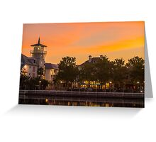 Orange Sunset over Celebration Florida Greeting Card