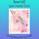 """Greeting Card Green Lacewing on Prunus Blossom """"You are Special"""" Psm 150:6 by bronspst"""