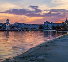 Sunset over Disney's Yacht Club by jjacobs2286