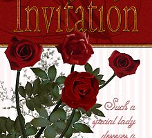Birthday Party Invitaton With Roses  by Moonlake
