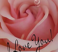 Valentine's Day Card With Rose, I Love You  by Moonlake