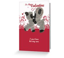 Valentine's Day Card With Cute Kissing Sheep  Greeting Card