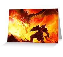 Warrior Facing Dragon Greeting Card