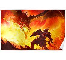 Warrior Facing Dragon Poster