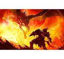 Warrior Facing Dragon Photographic Print