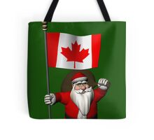 Santa Claus With Flag Of Canada Tote Bag