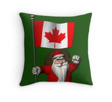 Santa Claus With Flag Of Canada Throw Pillow