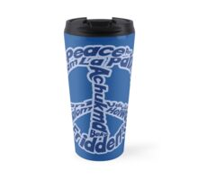 Blue peace sign in different languages Travel Mug