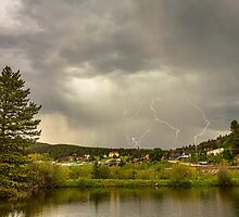 Lightning Striking Over Rollinsville Colorado by Bo Insogna
