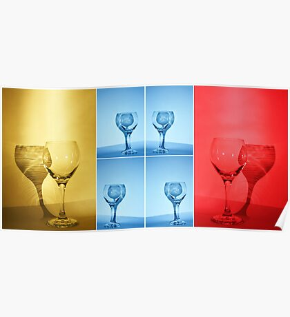 Primary Colors Wine Glass Collage Poster