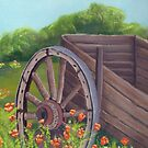 Old Wagon & Poppies ~ Oil Painting by Barbara Applegate