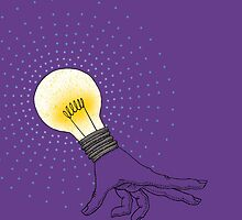Runaway Idea lightbulb hand by SusanSanford