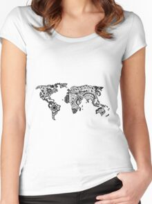 Map of the World Zentangle Women's Fitted Scoop T-Shirt